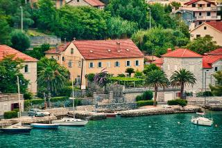 Dobrota House and Boats, Dobrota, Montenegro. Near Kotor.